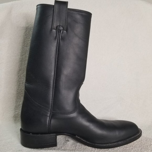 Alberta Boot Co. black leather cowboy boots